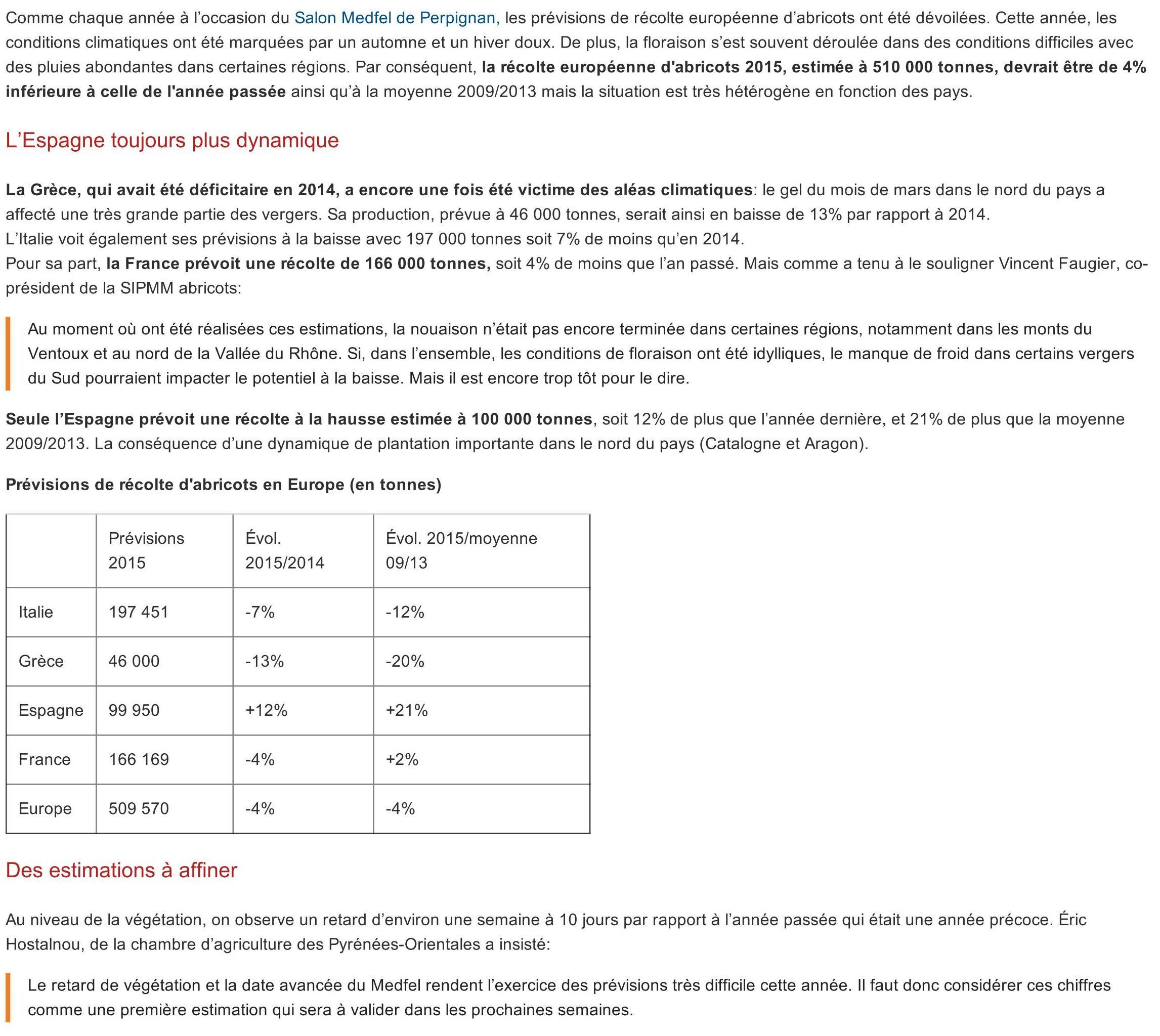 Abricot _ une production en léger recul _ L'Arboriculture fruitière_01